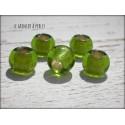 Perles à gros trou 10 mm Olivine X 5