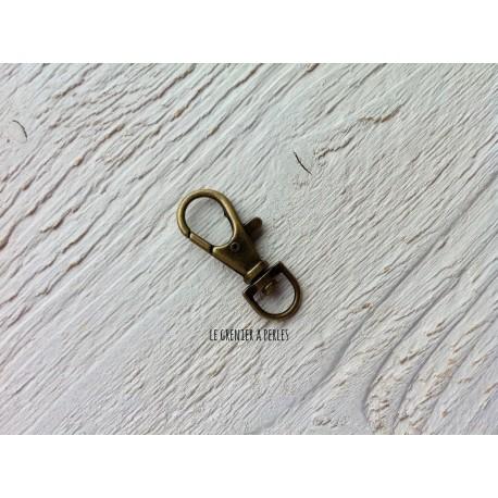 Mousqueton Porte Clé * Bijou de sac Bronze 37 x 13 mm