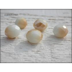 Perles ABACUS 10 mm BLANC DORE AB x 5