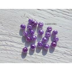 Perles Rondes 8 mm Nacrées Mauve x 20