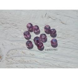 Perles ABACUS 8 mm Cristal Mauve Galvanisé X 10