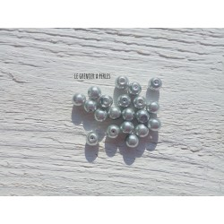 Perles Rondes 8 mm Nacrées Gris  x 20